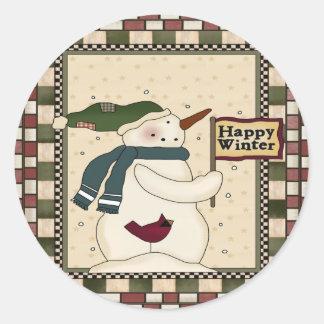 Invierno feliz de Snowmens Pegatina Redonda