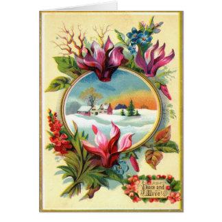 Invierno floral tarjeta pequeña
