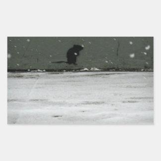 Invierno frío de NYC Pegatina Rectangular