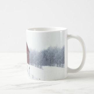 Invierno Frost con el granero Taza De Café