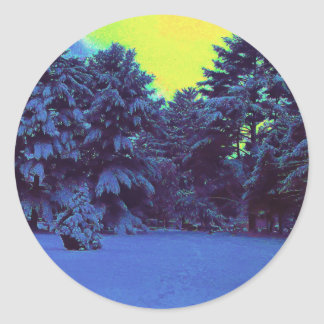 Invierno híper del color pegatina redonda