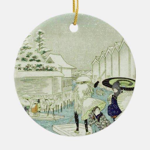 Invierno japonés del vintage en el arte de ornamente de reyes