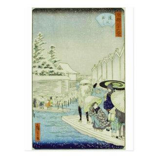 Invierno japonés del vintage en el arte de tarjeta postal
