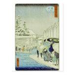 Invierno japonés del vintage en el arte de Woodblo Tarjeta Postal