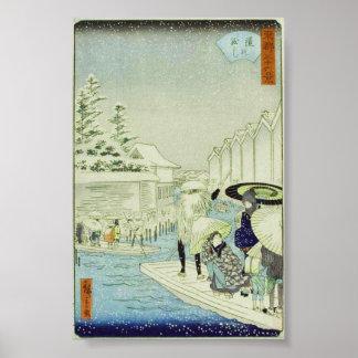 Invierno japonés en el arte Woodblock Ukiyo-E del  Póster