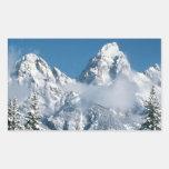 Invierno magnífico de Teton Pegatina Rectangular