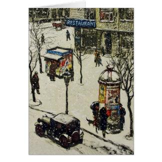 Invierno nevado de los coches de la calle de la ci tarjeta pequeña