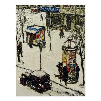 Invierno nevado de los coches de la calle de la ci tarjetas postales