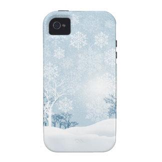Invierno Nevado - diseñador de los azules claros Case-Mate iPhone 4 Funda