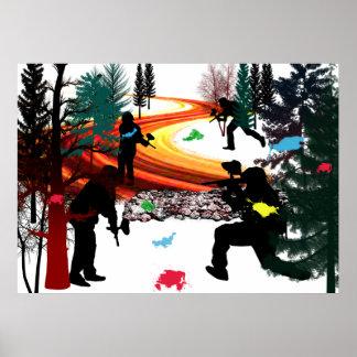 Invierno Paintball en las maderas Poster