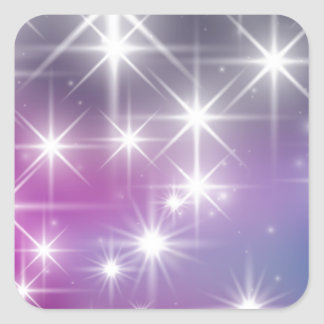 Invierno, púrpura, lila, luces blancas, chispas pegatina cuadradas personalizadas