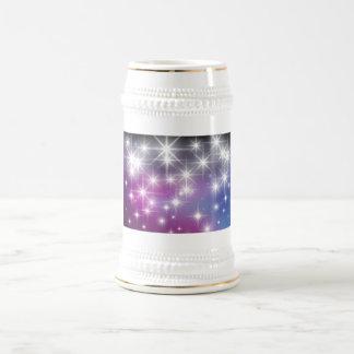 Invierno, púrpura, lila, luces blancas, chispas jarra de cerveza