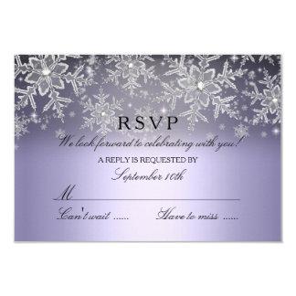 """Invierno púrpura RSVP del copo de nieve cristalino Invitación 3.5"""" X 5"""""""