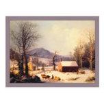 Invierno rojo de la casa de la escuela de George H Postales