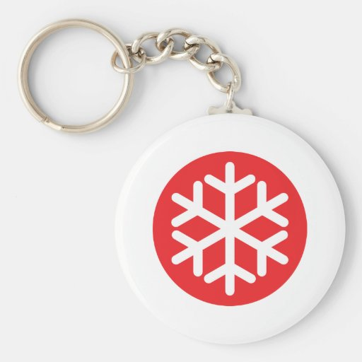 invierno rojo del copo de nieve llavero redondo tipo pin