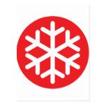 invierno rojo del copo de nieve tarjeta postal