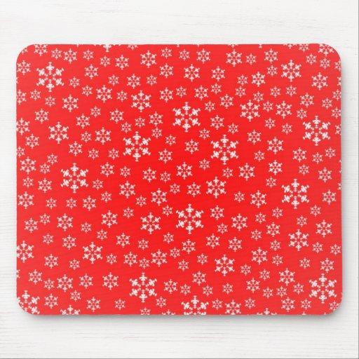 Invierno rojo y blanco Mousepad