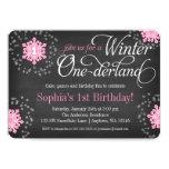 Invierno rosado Onederland de la pizarra de los Invitación 12,7 X 17,8 Cm