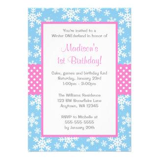 Invierno rosado y azul Onederland de los copos de Invitación Personalizada