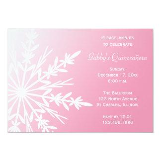 """Invierno rosado y blanco Quinceañera de Snowflaken Invitación 5"""" X 7"""""""