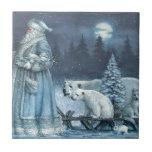 Invierno Santa del vintage con los osos polares Azulejo Cuadrado Pequeño