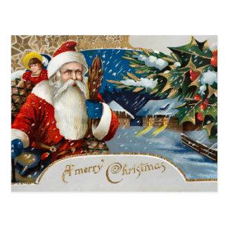 Invierno Santa del vintage Postal