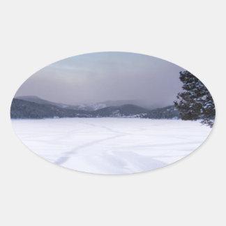 Invierno Secnic del depósito de Nederland Colorado Calcomanías De Ovales