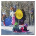 Invierno - Sledding en el parque Azulejo