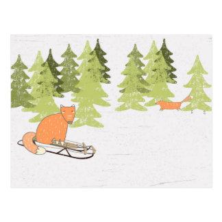 Invierno Sledding Fox - ejemplo Postales