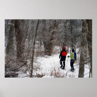 Invierno Snowshoeing Póster