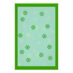 Invierno verde del copo de nieve inmóvil papelería personalizada
