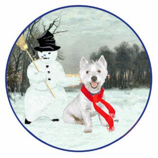 Invierno Westie con un muñeco de nieve Fotoescultura Vertical