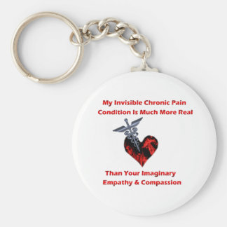 Invisible Chronic Pain Red Heart Keychains