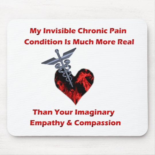 Invisible Chronic Pain Red Heart Mouse Pad