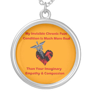 Invisible Chronic Pain Red Heart of Flames Necklac Pendant