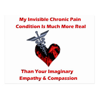 Invisible Chronic Pain Red Heart Postcards
