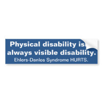 Invisible Disability - Ehlers Danlos Syndrome Bumper Sticker