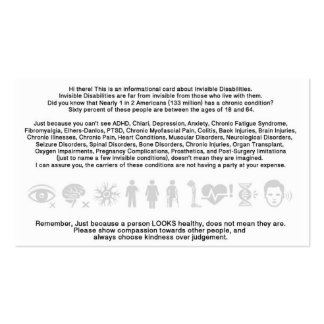 Invisible Disability Informational Card Business Card Template