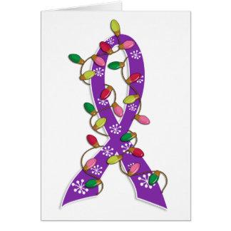 Invisible Illness Christmas Lights Ribbon Greeting Card