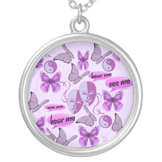 Invisible Illness Collage Round Pendant Necklace