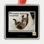 Invisible Roller Coaster Square Metal Christmas Ornament