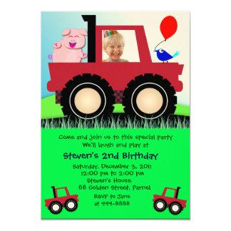 Invitación 020 del cumpleaños: camión del granjero