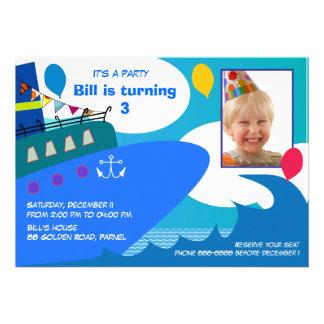 Invitación 027 del cumpleaños de los niños Barco