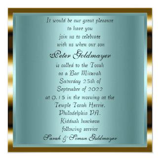 Invitación 12 de la ceremonia del oro de Mitzvah