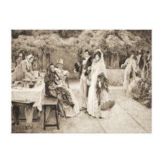 Invitación 1898 del compromiso impresiones en lienzo estiradas