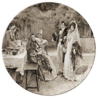 Invitación 1898 del compromiso platos de cerámica