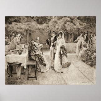 Invitación 1898 del compromiso póster
