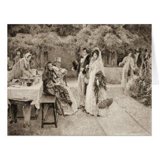 Invitación 1898 del compromiso tarjeta de felicitación grande