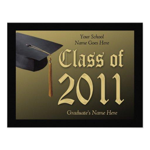Invitación 2011 de la graduación del casquillo/de