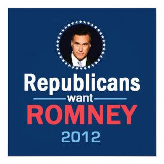 Invitación 2012 de Romney Invitación 13,3 Cm X 13,3cm